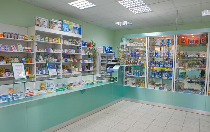 Внутренний интерьер аптечного пункта