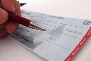 Заполнение чековой книжки