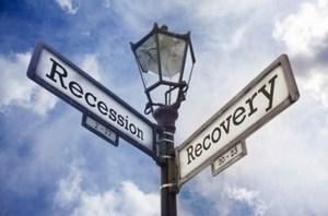 Фонарь с надписью Recession & Recovery