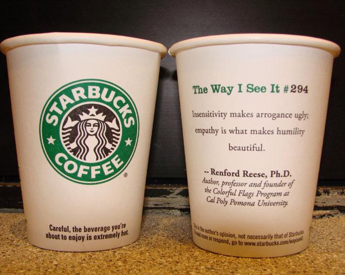 Каждый стакан кофе Starbucks содержит интересный факт и пожелание