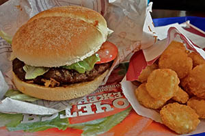 Гамбургер и драники