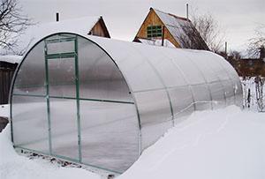 Теплица в снегу
