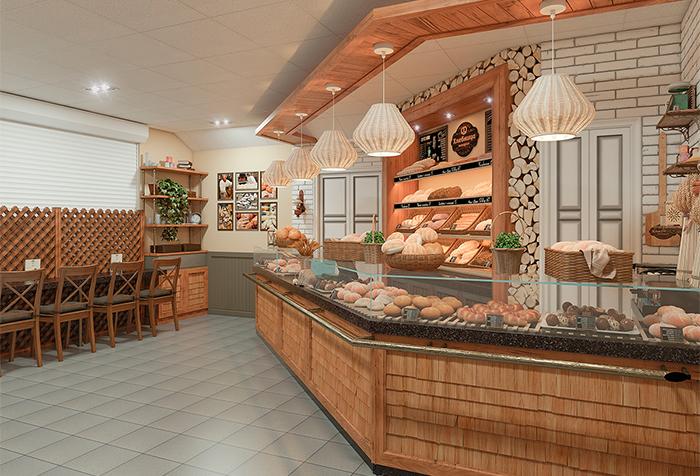 Дизайн помещения кондитерской Хлебница
